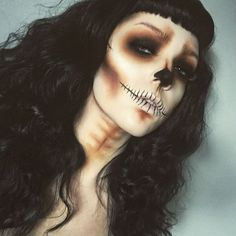 """""""☠ Dig up her bones ☠  Skull look created using @urbandecaycosmetics naked skin foundation as a base, @sugarpill Tako to set and highlight. Eyes and…"""""""