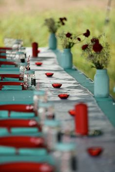 Red and aqua wedding