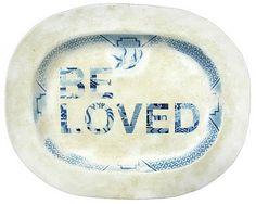 ceramic art by Karen Ryan via Chocolate Creative - #upcycled #plate #platter #blue #white #text #love #ceramics #art