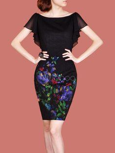 Belle robe bodycon noire de col bateau à volants en satin imprimé floral - Milanoo.com