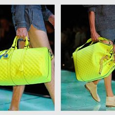 Luis Vuitton Men's Spring/Summer 2013. My husband would never carry this color, but I sure would!