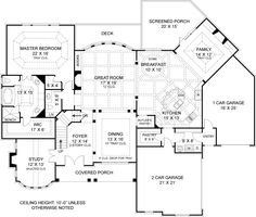 First Floor Plan image of Drewnoport House Plan 4222 sq ft. 4 br, 4.5 bath. 3 garages. 1 full bath is in basement with walkout. Could be location for guest apartment. This plan has 2 areas for dining. I would prefer only one area for a dining table, with a large island bar for breakfast area.
