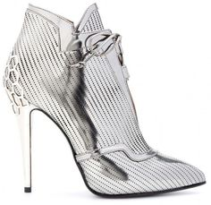 Fendi Silver Perforated Leather Ankle Boots Fall 2013 #Booties #Shoes