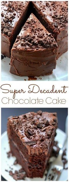 Super Decadent Chocolate Cake with Chocolate Fudge Frosting - seriously the BEST chocolate cake ever. Super Decadent Chocolate Cake with Chocolate Fudge Frosting - seriously the BEST chocolate cake ever. Only Chocolate Cake Recipe, Chocolate Fudge Frosting, Decadent Chocolate Cake, Chocolate Desserts, Delicious Chocolate, Chocolate Chocolate, Chocolate Lovers, Chocolate Decadence Cake Recipe, Super Moist Chocolate Cake