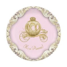 Pink Gold Princess Carriage Girl Baby Shower