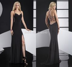 New Sexy Fashion Halter Off-shoulder Delicate Crystal/Rhinestone Beads Black Chiffon Floor Length Evening Dresses