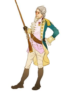 "Marquis de Lafayette--Wanna see my bayonet? by NiccoloMachiavel.deviantart.com on @deviantART - From the artist's comments: ""Sometimes I forget Lafayette was a soldier who knew how to handle weaponry and was shot and was really tough about it. Although I don't think he'd object to the lavender waistcoat."""