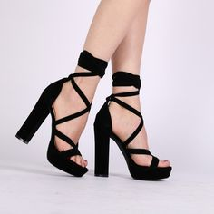 ef7b3aaf1068 Stella Lace Up Heels in Black Faux Suede