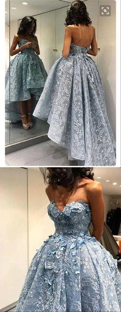 Baby blue lace hi-lo prom dress,strapless prom dress
