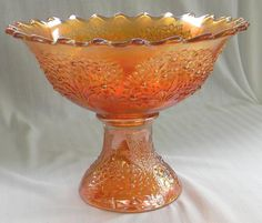 Fenton Marigold Carnival Glass Orange Tree Punch Bowl & Stand  $240