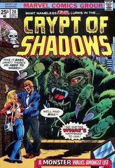 Crypt of Shadows Marvel Comics No. 20 F Old Comics, Vintage Comics, Marvel Comics, Creepy Comics, Horror Comics, Comic Book Covers, Comic Books Art, Comic Art, The Frankenstein