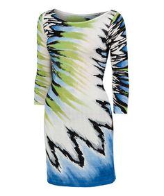 Look at this #zulilyfind! Lime & Blue Electra Boatneck Dress by Krimson Klover #zulilyfinds