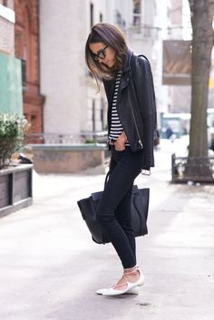 We're loving cute flats to finish off outfits. Check out the styles we're wanting right now, including the lace-up flats Something Navy wore with black jeans, a striped shirt, and leather jacket Look Fashion, Fashion Outfits, Womens Fashion, Fashion Trends, Fashion 2015, Fashion Weeks, Milan Fashion, Fall Fashion, Mode Style