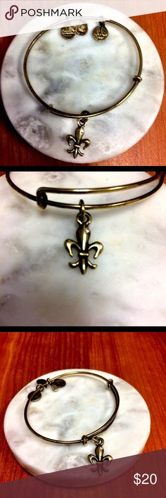 Alex and Ani bracelet Fleur de Lis bronze Alex and Ani Fleur de Lis Bangle. Bronze. Channel ancient energy and inspire faith. Tiny sparkly stone on charm. The coolest stackable bangles. Each one tells the story of you. Alex and Ani Accessories