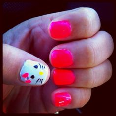 I know alot of little girls (and older girls) that would love this mani.  hello kitty nails!! :)