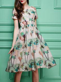 Apricot Casual V Neck Polyester Midi Dress