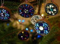 beautiful hanging mosaics using plastic bottle tops. They make lovely tree decorations, and they can be as simple or complex as you like.