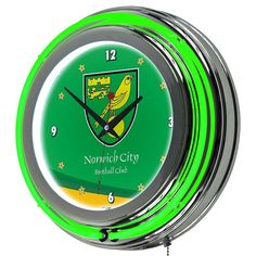 Norwich City FC Neon Wall Clock, Green