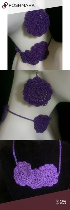 """Summer clearance closeout necklace earrings set This beautiful purple earrings and necklace choker set is perfect for both the boho Glam lover and the African jewelry lover.  They are extremely lightweight, soft and comfortable to wear.  The necklace ties in the back and can be worn as a choker or a necklace.  Measured from end-to-end the necklace is 24"""" long and the earrings are about 1 7/8"""" wide and are about 3"""" long from the hook to the bottom of the earrings.  My home is pet free and…"""