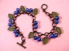 "#FLAUNTYOURFLAVOR""  Sweepstakes entry. BLUE Berry Charm Bracelet Wild Blueberry and Brass by justCHARMING, $20.00"