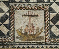 Detail, Theseus and Ariadne aboard his ship. (Theseus Mosaic), from a Roman villa, Loigersfelden near Salzburg, Austria. Kunsthistorisches Museum, Antikensammlung, Vienna, Austria.