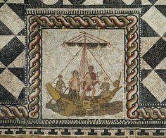 Detail, Theseus and Ariadne aboard his ship. (Theseus Mosaic), from a Roman villa, Loigersfelden near Salzburg, Austria. Kunsthistorisches Museum, Antikensammlung, Vienna, Austria.