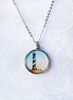 Lighthouse at Hatteras -- Nautical Necklace, Art Pendant. $ 28.00    ... https://www.etsy.com/listing/121646101/lighthouse-at-hatteras-nautical-necklace#