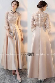 Champagne Long Formal Dress Aline with 3/4 Sleeves MXL86078 at #SheProm. Shop thousands of dresses range from Prom,Homecoming,Formal,Yellow,Gold,A Line Dresses,Long Dresses,Long Sleeve Dresses and so on. Not only selling formal dresses, more and more trendy dress styles will be updated daily to our store. Shop now to get $10 off! #longpartydress