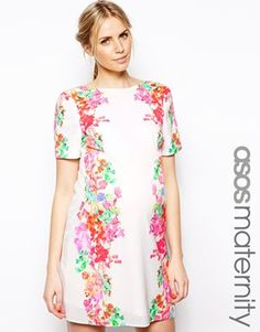 Image 1 of ASOS Maternity Mirror Floral T-Shirt Dress