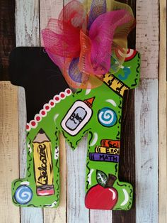 Teacher door hanger by fischfynndesigns on etsy painting: te Teacher Door Hangers, Letter Door Hangers, Teacher Doors, Teacher Signs, Door Plaques, Teacher Christmas Gifts, Great Teacher Gifts, Teacher Appreciation Gifts, Back To School Gifts For Teachers