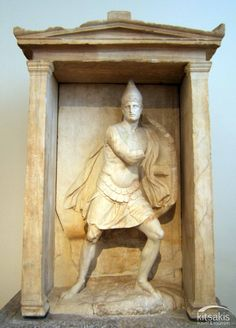 Marble funerary naiskos (small temple) of Aristonautes, found in the ancient cemetery of the Kerameikos, Athens 350-325 BC. National Archaeological Museum of Athens, Greece #kitsakis