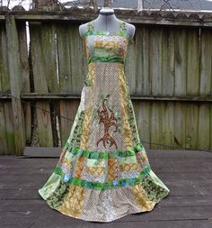 The Peace Tree - Patchwork Hippie Boho Maxi Dress - Sundress Festival Clothing Woodland Wear Long Dress Bohemian Swirly Tree