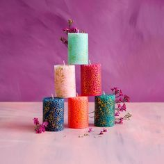 Rose Candle, Candle Set, Candle Holders, Glass Candle, Best Candles, Pillar Candles, Candle Making Supplies, Candle Centerpieces, Blue Glitter
