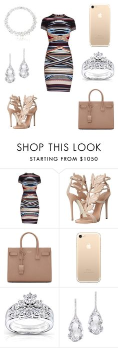 """Night Out ❤"" by naynay1k ❤ liked on Polyvore featuring Hervé Léger, Giuseppe Zanotti, Yves Saint Laurent, Kobelli and Plukka"
