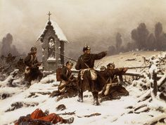 Prussian infantry in the snow, by Christian Sell