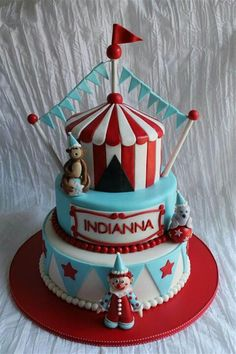 Circus Cake, tent, flags, colors, bottom layer. NO CLOWNS, add an elephant
