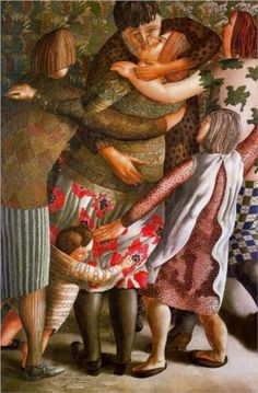 Hilda Welcomed - Stanley Spencer. His beginning and end styles are so different!