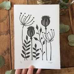 Wild flower lino print - print - botanical - seed heads - Wild flower lino p. - Wild flower lino print – print – botanical – seed heads – Wild flower lino p… – Wi - Stamp Printing, Screen Printing, Linoprint, Motif Floral, Nature Prints, Linocut Prints, Woodblock Print, Tree Art, Fabric Painting