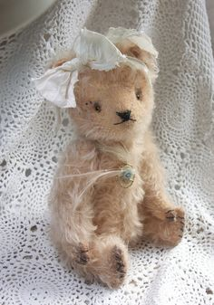 "Vintage Looking Mohair Artist Teddy Bear ""Forget me Not""..via Etsy."