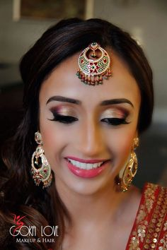 Makeup and hair for sangeet. Indian wedding, Gold and pink. www.gokalove.com check us out on Instagram @gokalovemakeupandhair  curls, side updo