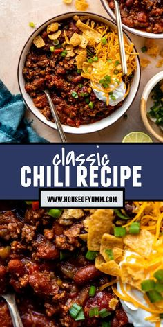 Easy Chili Recipe Best Soup Recipes, Delicious Dinner Recipes, Chili Recipes, Mexican Food Recipes, Real Food Recipes, Favorite Recipes, Healthy Recipes, Healthy Slow Cooker, Slow Cooker Recipes