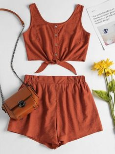 Sleeveless Button Up Crop Top And Shorts Set, Summer Outfits, Take your casual wear up a notch as the weather gets warmer with this cooling matching set. The top features a scooped collarline, pearly buttons and . Daily Fashion, Trendy Fashion, Fashion Outfits, Fashion Fashion, Fashion Ideas, Fashion Inspiration, Winter Fashion, Vintage Fashion, Rompers Women