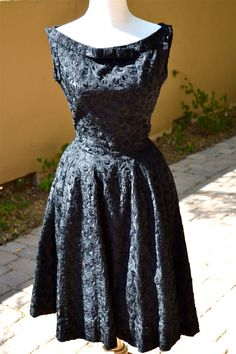 vtg 1950s Beautiful Black fully embroidered by faintofheartvintage, $99.00