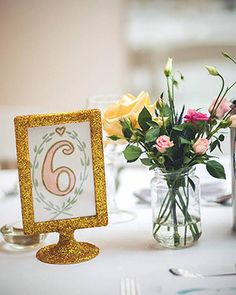 glitter Ikea table numbers | www.onefabday.com