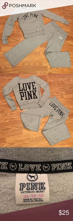 BUNDLE VS PINK OUTFIT  Matching grey Victoria's Secret PINK lounge outfit. The pants are an XS and are flared at the bottom. The sweat shirt is a size XS. Reasonable offers welcome! Feel free to ask questions!  PINK Victoria's Secret Tops Sweatshirts & Hoodies