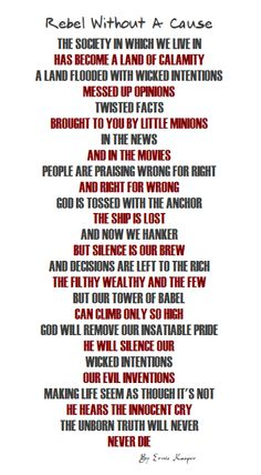 ~Rebel Without A Cause~ #poem   #poetry   #words   #society   #God   #faith  #sin #canadianpoet by Ernie Kasper