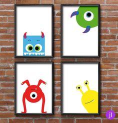 """Bilder - 4er Set A5 Poster """"Monster"""" - ein Designerstück von JessicaLorenzDesign bei DaWanda"""