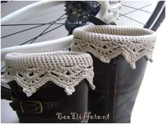 Crochet Boot Cuffs leg warmers boot toppers by BeeDifferent1