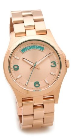 Marc by Marc Jacobs Baby Dave Watch Such a great color combo - rose gold & teal! Marc Jacobs Watch, Jewelry Accessories, Fashion Accessories, Vogue, All I Ever Wanted, Or Rose, Rose Gold, Girls Best Friend, Swagg
