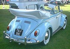 """my """"if i won the lottery"""" car - a restored 1965 Beetle Cabriolet in aqua with white soft top and interior."""